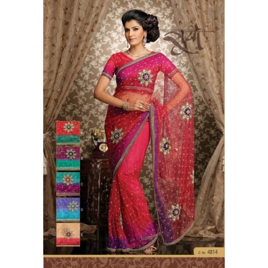 sari-indien-mariage-rouge-magenta-brode-a-fleurs-et-strass